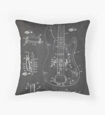 1961 Fender Precision Bass Guitar Patent Art, Blackboard Throw Pillow