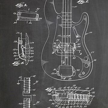 1961 Fender Precision Bass Guitar Patent Art, Blackboard by geekuniverse