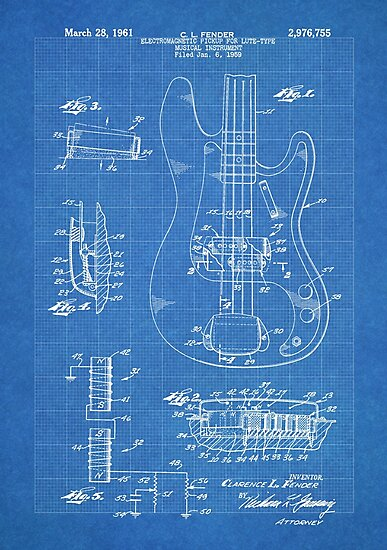 1961 fender precision bass guitar patent art blueprint 1961 fender precision bass guitar patent art blueprint by steve chambers malvernweather Gallery
