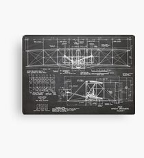 1903 Wright Flyer Airplane Invention Patent Art, Blackboard Canvas Print