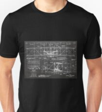1903 Wright Flyer Airplane Invention Patent Art, Blackboard Unisex T-Shirt