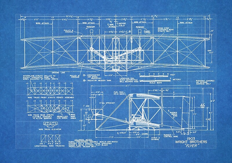 1903 wright flyer airplane invention patent art blueprint canvas 1903 wright flyer airplane invention patent art blueprint by steve chambers malvernweather Image collections