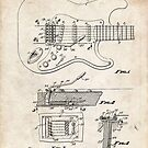 1956 Fender Stratocaster Guitar Invention Patent Art by Steve Chambers