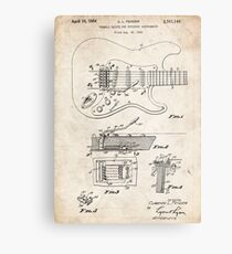 1956 Fender Stratocaster Guitar Invention Patent Art Metal Print