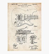 1956 Fender Stratocaster Guitar Invention Patent Art Photographic Print