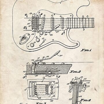 1956 Fender Stratocaster Guitar Invention Patent Art by geekuniverse