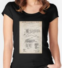 1956 Fender Stratocaster Guitar Invention Patent Art Women's Fitted Scoop T-Shirt