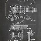 1956 Fender Stratocaster Guitar Invention Patent Art, Blackboard by Steve Chambers