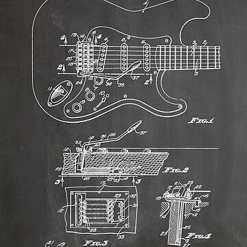 1956 Fender Stratocaster Guitar Invention Patent Art, Blackboard by geekuniverse