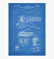 1956 Fender Stratocaster Guitar Invention Patent Art, Blueprint Photographic Print