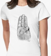 Hand Sketched Three Finger Salute (Black) T-Shirt
