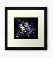 Spaceman and space cat Framed Print