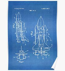 NASA Space Shuttle Invention Patent Art, Blueprint Poster