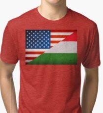 Half Hungarian Half American Flag Tri-blend T-Shirt