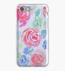 Bright Watercolor Roses iPhone Case/Skin