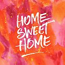 Home Sweet Home Handpainted Abstract Watercolor Orange Pink Yellow by Beverly Claire Kaiya