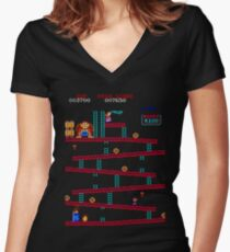 Donkey Kong Arcade Women's Fitted V-Neck T-Shirt