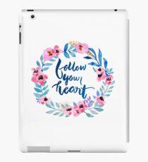 Follow Your Heart Watercolor Brush Lettering Flowers iPad Case/Skin