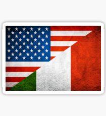 Half Italian Half American Flag Sticker