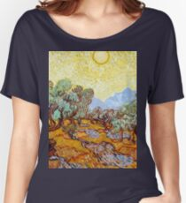 1889-Vincent van Gogh-Olive Trees with yellow sky and sun-73,66x92,71 Women's Relaxed Fit T-Shirt
