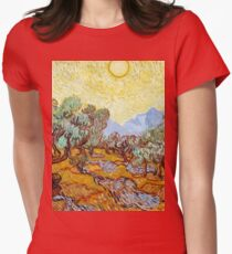 1889-Vincent van Gogh-Olive Trees with yellow sky and sun-73,66x92,71 Womens Fitted T-Shirt