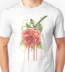 Red Rose Watercolor Dripping T-Shirt