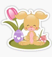 Smiling Cartoon Easter Bunny Sticker