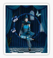 Blue clown in a surreal scenery Sticker