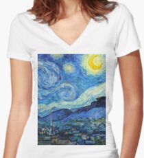 1889-Vincent van Gogh-The Starry Night-73x92 Fitted V-Neck T-Shirt