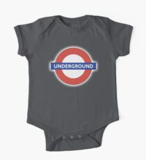 TUBE, UNDERGROUND, LONDON, ENGLAND, BRITISH, on BLACK One Piece - Short Sleeve