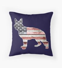 Patriotic German Shepherd, American Flag Throw Pillow