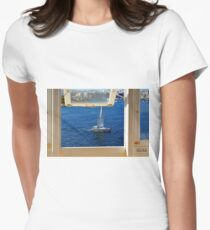 Nautical theme seen from a window frame. Malta. Women's Fitted T-Shirt