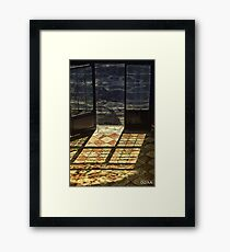 Strong contrast between light and shadow. Old classical entrance. Framed Print