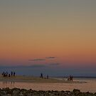 Full Moon Beach Watching At Sunset by Bo Insogna
