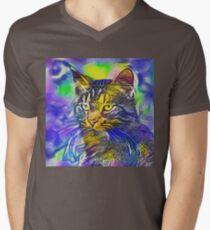 Artificial neural style iris flower cat V-Neck T-Shirt
