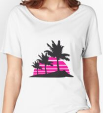 palm beach 3 allee row windy wind storm gusts air black fringe silhouette sun beach strip pink miami Women's Relaxed Fit T-Shirt