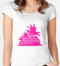 palm beach 3 allee row windy wind storm gusts air black fringe silhouette sun beach strip pink miami Women's Fitted Scoop T-Shirt