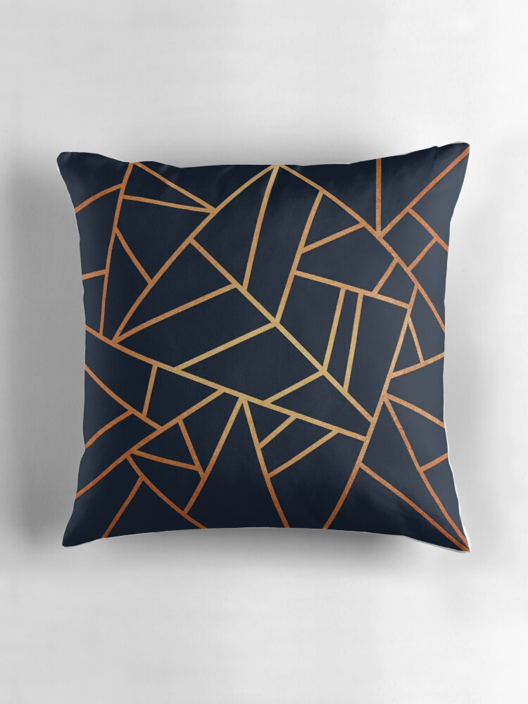 "Copper and Midnight Navy"" Throw Pillows by Elisabeth Fredriksson"
