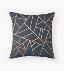 Copper and Midnight Navy Throw Pillow