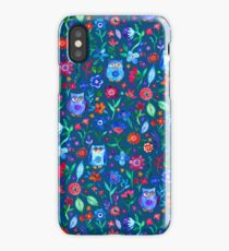 Little Owls and Flowers on deep teal blue iPhone Case/Skin