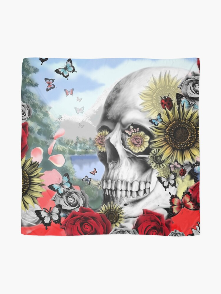 Alternate view of Nature skull landscape Scarf