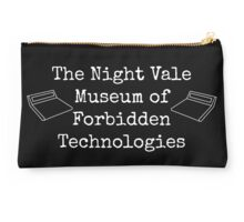 "Welcome To Night Vale ""The Night Vale Museum of Forbidden Technologies"" - White Writing, Black Background Studio Pouch"