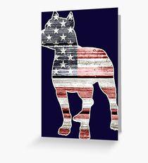 Patriotic Pitbull, American Flag Greeting Card