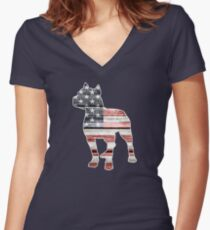 Patriotic Pitbull, American Flag Women's Fitted V-Neck T-Shirt