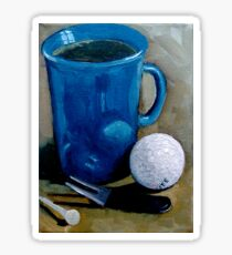 Golf Ball with Coffee Cup, Original Painting Sticker