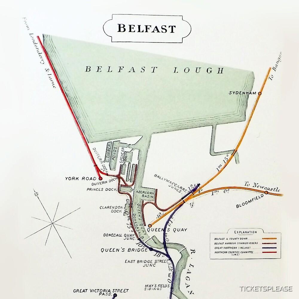 1928 RAILWAY MAP OF BELFAST DOCKS by TICKETSPLEASE