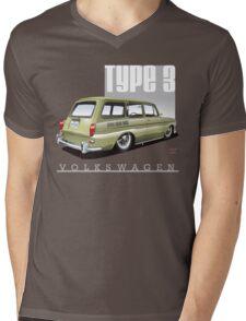 VW Squareback in Safari Beige Mens V-Neck T-Shirt