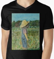 Surveying The Farm, Black Frame Mens V-Neck T-Shirt