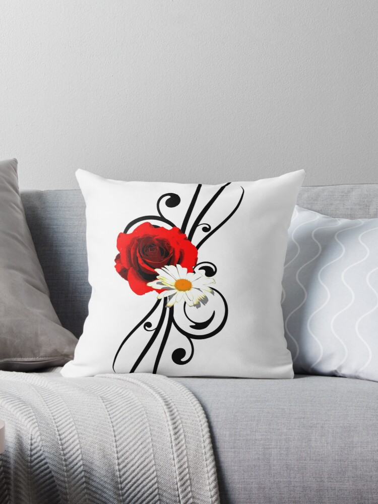 Women s Beautiful Swirly Red Rose Daisy Tattoo Inspired