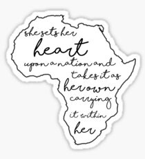 """She sets her heart""- Africa Sticker"